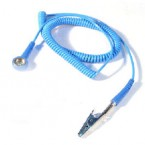 Grounding Chord, stud to croc, 6ft Blue